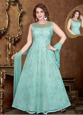 Prepossessing Net Embroidered Aqua Blue Gown