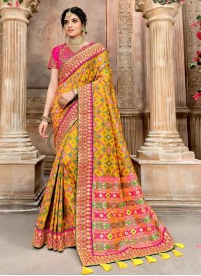 Prepossessing Pink and Yellow Designer Traditional Saree