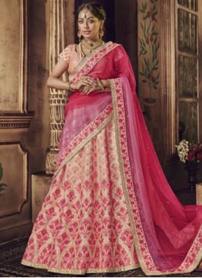 Prepossessing Raw Silk Resham Lehenga Choli