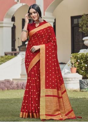 Prepossessing Red Festival Traditional Saree