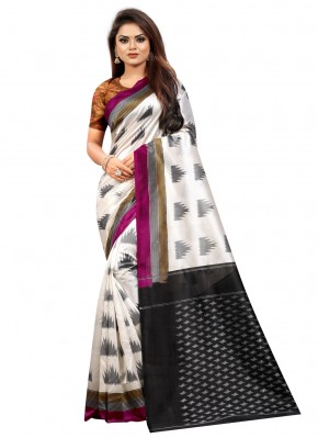 Pretty Abstract Print Black and Off White Silk Traditional Saree