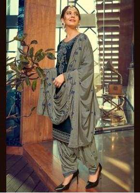 Pretty Blue Print Cotton Silk Patiala Suit