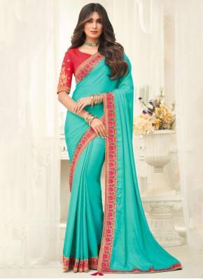 Pretty Border Silk Aqua Blue Designer Saree