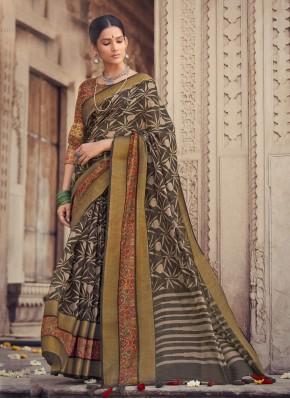 Pretty Cotton Silk Grey Printed Saree