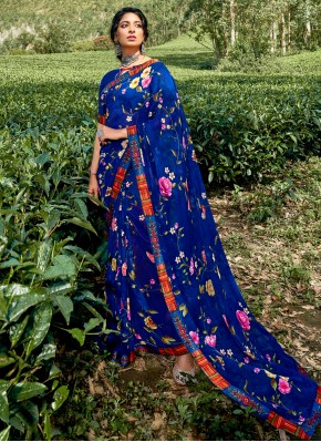 Pretty Faux Georgette Multi Colour Floral Print Printed Saree
