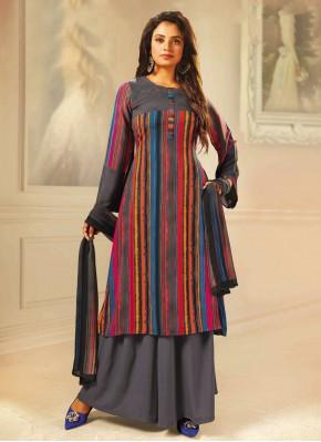 Pretty Multi Colour Designer Palazzo Suit