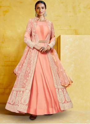 Pretty Peach Georgette Anarkali Salwar Kameez
