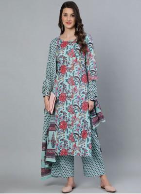Pretty Sea Green Cotton Readymade Suit