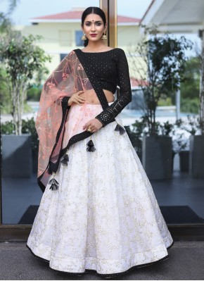 Prime Black and Off White Fancy Readymade Lehenga Choli