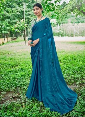 Prime Faux Chiffon Swarovski Blue Classic Designer Saree