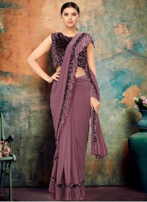 Prime Lycra Lavender Designer Contemporary Saree