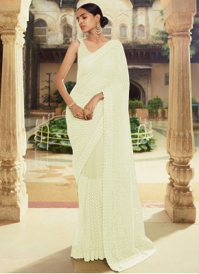 Prime Off White Moti Classic Designer Saree