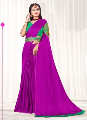 Prime Purple Embroidered Faux Chiffon Classic Designer Saree