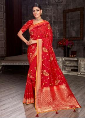 Prime Red Fancy Fabric Designer Saree
