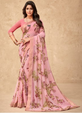 Princely Abstract Print Pink Faux Georgette Printed Saree