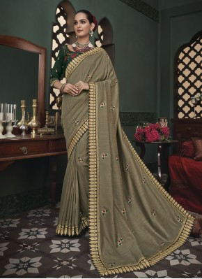 Princely Beige Embroidered Fancy Fabric Classic Designer Saree