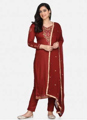 Princely Cotton Embroidered Maroon Designer Straight Suit