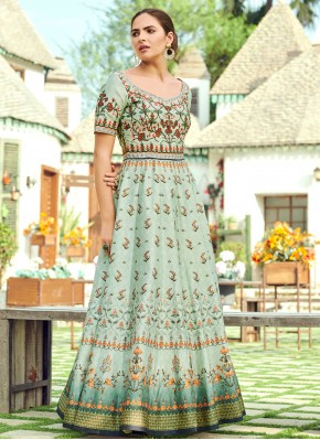 Princely Digital Print Green Silk Trendy Gown