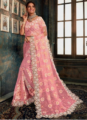 Princely Embroidered Pink Classic Designer Saree
