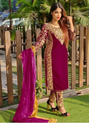 Princely Magenta Embroidered Pant Style Suit
