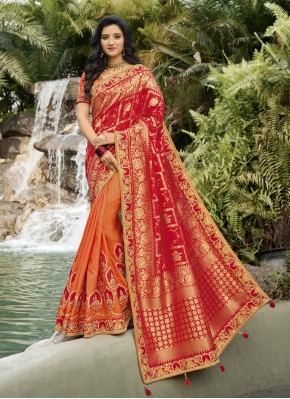 Princely Orange and Red Patch Border Designer Half N Half Saree