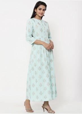 Print Cotton Designer Kurti in Blue