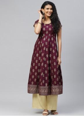 Print Cotton Designer Kurti in Purple
