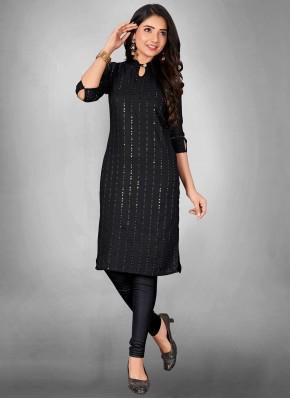 Print Cotton Party Wear Kurti in Black