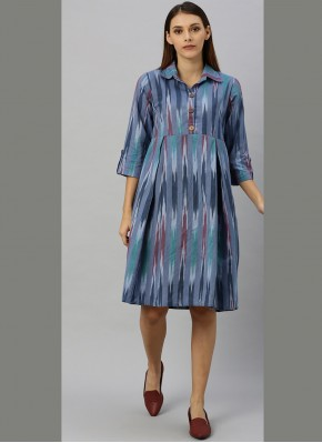 Print Cotton Party Wear Kurti in Blue