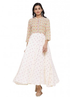 Print Cotton Party Wear Kurti in Cream and Off White