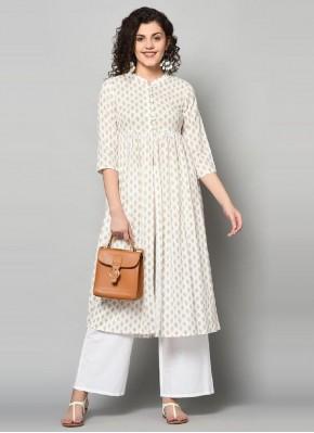 Print Cotton Party Wear Kurti in Off White