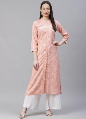 Print Cotton Party Wear Kurti in Pink