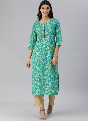Print Cotton Party Wear Kurti in Turquoise