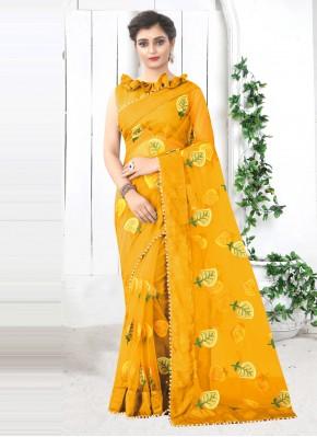 Print Net Printed Saree in Yellow
