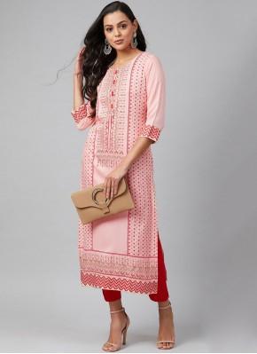 Print Rayon Party Wear Kurti in Pink