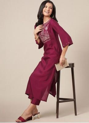 Print Silk Party Wear Kurti in Burgundy