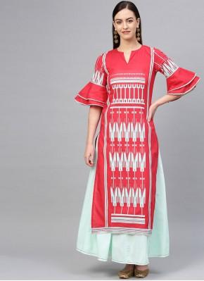 Printed Cotton Designer Kurti in Pink