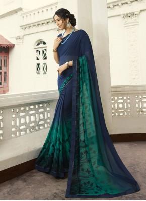 Printed Georgette Bollywood Saree in Navy Blue