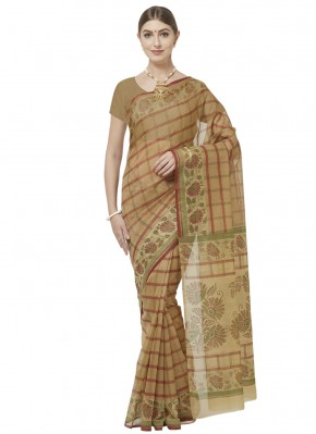 Printed Saree Abstract Print Blended Cotton in Beige and Brown