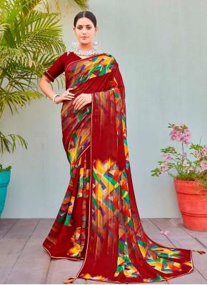 Printed Saree Abstract Print Cotton Silk in Multi Colour