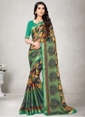 Printed Saree Abstract Print Fancy Fabric in Multi Colour