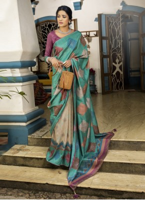Printed Saree Abstract Print Silk in Multi Colour