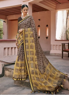 Printed Saree Printed Cotton in Multi Colour