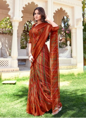 Printed Saree Printed Faux Chiffon in Multi Colour