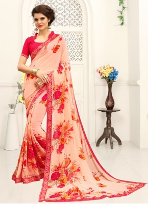 Printed Saree Printed Faux Georgette in Multi Colour