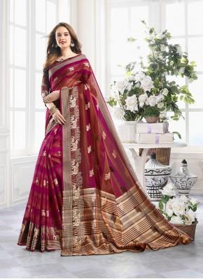 Printed Saree Zari Handloom Cotton in Magenta