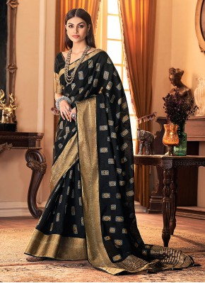 Printed Silk Designer Traditional Saree in Black