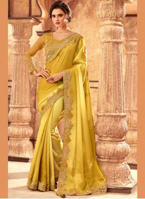 Pristine Embroidered Art Silk Yellow Traditional Saree