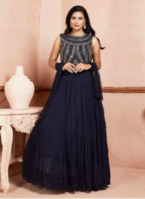 Pristine Embroidered Navy Blue Readymade Suit