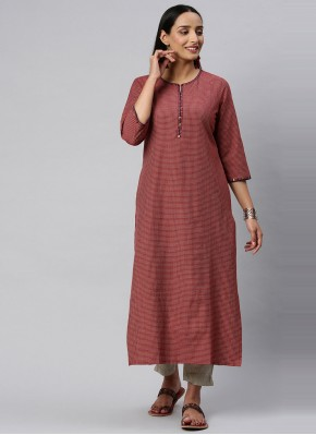 Pristine Maroon Blended Cotton Party Wear Kurti